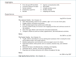 nanny resume exle nanny description resume sle artemushka