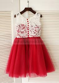 princess knee length red tulle ivory lace flower dress