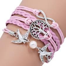 metal rope bracelet images Pink leather metal tree double bird infinity bracelets bangles jpg