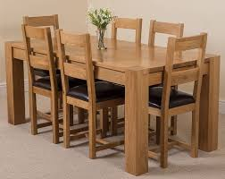 Oak Dining Furniture Hermosa Kensington Dining Table With 6 Chairs With Clear Lacquer