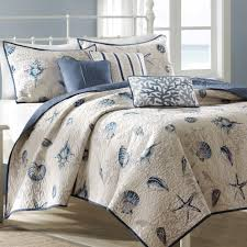 Nautical Bedspreads Light Grey Coastal Bedding Collections With Star Fish And Shell