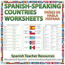 spanish speaking countries worksheets and activities spanish