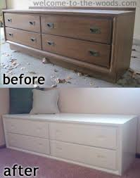 dresser to bench makeover welcome to the woods