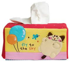 Kids Bathroom Accessories by Cat And Balloon Embroidered Tissue Box Cover Contemporary Kids