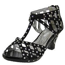 u0027s t strap rhinestone high heel laser cutout dress shoes black