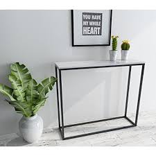 Steel Console Table Amazon Com Roomfitters Sofa Console Table Marble Print Top Steel