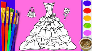 learn to draw and coloring rainbow barbie dress coloring book