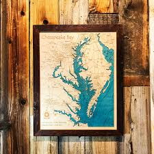 chesapeake bay md va 3 d nautical wood map 16 x 20 on tahoe time