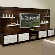 Wall Furniture For Living Room Varnished Block Wood Console Table Features Brown Stain Tv Stand