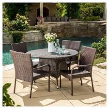 Rattan Patio Dining Set Grant 5pc Wicker Patio Dining Set Brown Christopher Home