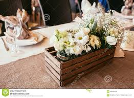 wedding table decorations on banquet with stock photo