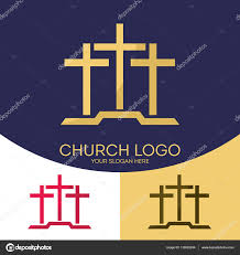 church crosses church logo christian symbols three crosses stock vector