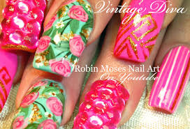 neon pink nails with roses bling vintage mint diva nail art