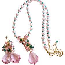 swarovski necklace red images Pink and emerald green swarovski crystal and swarovski faux pearl jpg