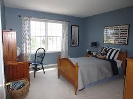 blue and grey bedroom wooden bed frame white modern bedding set