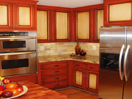 orange and green painted kitchens interior design