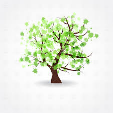 crown of a spring tree made of paint blots vector image 22082