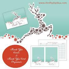 free christmas thank you card printable organizer diy