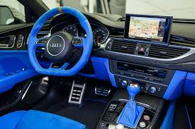 lamborghini custom interior voodoo blue audi rs7 has an interior that belongs in a lamborghini