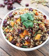 butternut squash and cranberry quinoa salad broken