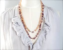 pink beads necklace images Blush pink bohemian pearl necklace or bracelet ibiza style tribal jpg