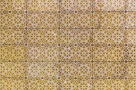 Pattern Ottoman Ottoman Turkish Style Golden Colored Tiles Background With