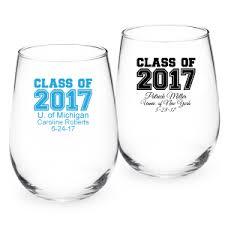 graduation wine glasses personalized class of 2017 stemless wine glass personalized