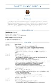 Resume For Babysitting Examples by Babysitting Resume Samples Visualcv Resume Samples Database