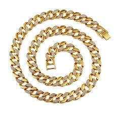 aliexpress buy nyuk new fashion american style gold nyuk new fashion gold bling rhinestone cz men s necklace hip