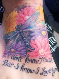 lovely flowers and wonderful dragonfly tattoo for women