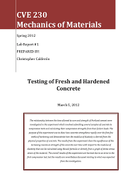 cve 230 lab report 1 fresh and hardened concrete concrete