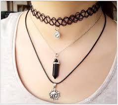 multi layered black necklace images Hot multi layer tattoo choker necklace fishing thread weave jpg