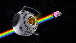 nyan cat rainbow positive space portal cartoon sci fi stars humor