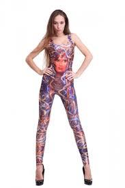 spandex jumpsuits womens sleeveless medusa print catsuit spandex bodysuit purple