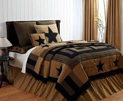 Country Quilts And Bedspreads Amazon Com 9 Pc Delaware Queen Quilt Set Black U0026 Tan Western Star