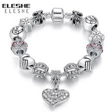 silver bracelet with crystal images Eleshe luxury brand women bracelet 925 unique silver crystal charm jpg