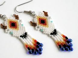 Ruby Red Long Brick Stitch White Buffalo Earrings Brickstitch Native American Inspired
