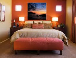 Small Bedroom Ideas For Couplex S Warm Orange Wall Color With Stylish Table Lamps For Small Bedroom