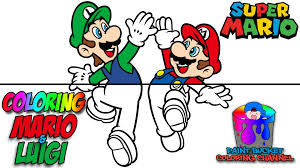 coloring mario and luigi nintendo super mario coloring page for