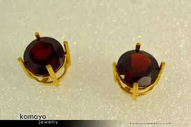 gold earrings tops gold garnet earrings 8mm garnet stud earrings 18k gold ear