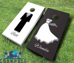 make a big wedding statement with bride and groom boards
