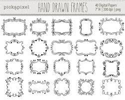 Hand drawn frames clip art Doodle clipart Decorative frames