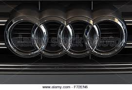 audi rings the audi logo of four interlocking rings on the grille of an audi