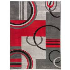Red Rug Well Woven Ruby Galaxy Waves Grey Red 5 Ft 3 In X 5 Ft 3 In