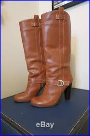 womens brown leather boots size 9 s brown leather ralph high heel mid calf boots