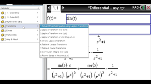 laplace transform table calculator laplace transform step by step using the tinspire cas cx youtube