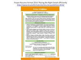 Right Resume Format Resume Formats