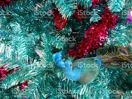 tinsel christmas tree green turquoise peacock decorations glitter