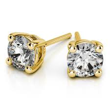 gold diamond stud earrings 18k 1ctw vs2 si1 g h back diamond stud earrings