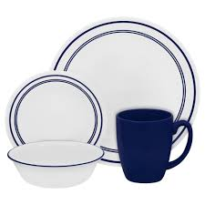 Corelle Square 30 Piece Dinnerware Set Corelle Livingware 16 Piece Dinnerware Set In Cafe Blue 1055607
